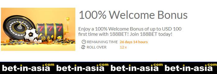 100% first deposit 188bet