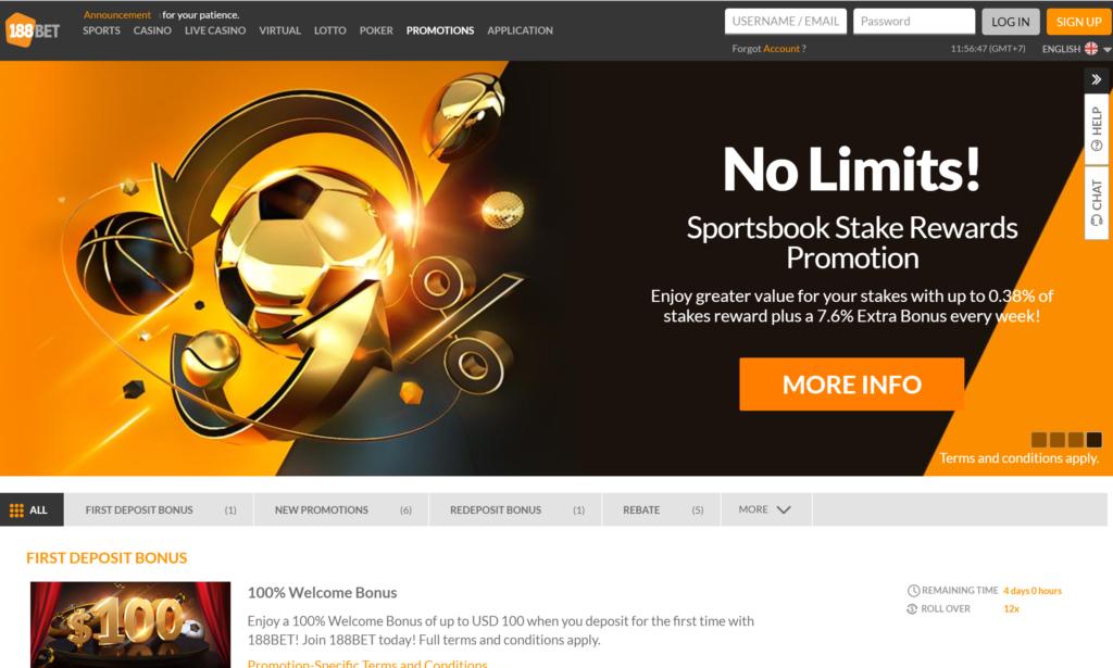 sportsbook stake reward 188bet
